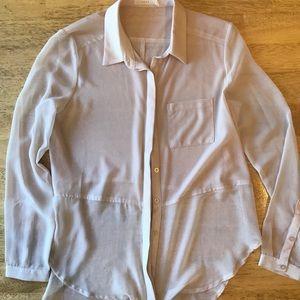 Lush Brand Blush Long-Sleeved Sheer Button Down
